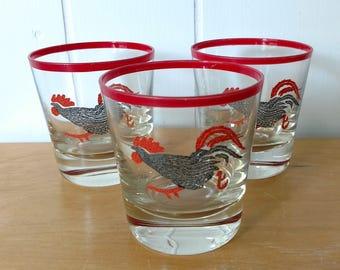 3 vintage rooster glasses