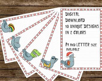 Download Pigeon Printable Writing Paper - Stationery paper - Letter writing paper - Printable PNG file - Handwriting Paper - 40 Files Pack