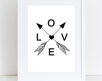Love Arrow Print, Scandinavian Print, Love Arrows, Home Artwork, Home Deco, Valentines Day Gift
