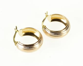 14k Two Tone Brushed Finish Striped High Relief Hoop Earrings Gold
