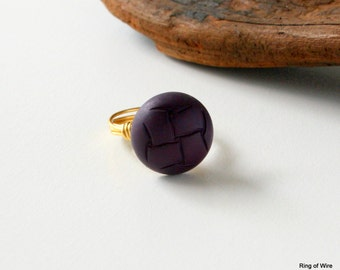 CLEARANCE, Purple Button Ring, Wire Wrapped Ring, Button Jewelry, Round Button Ring, Leather Look Ring, Resin Button Ring, Gold Wire Ring