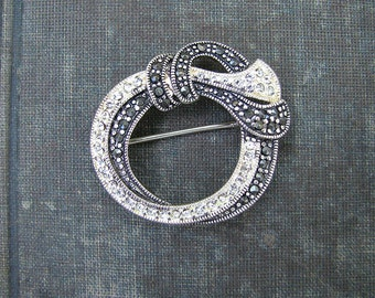 Vintage Marcasite and Rhinestone Brooch, Sterling Silver, Wreath Pin