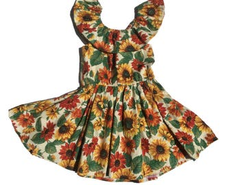Boho Baby Dress, Baby Floral Dress, Girls Spring Dress, Girls Birthday Dress, Girls Sunflower Dress, Baby Spring Dress, Toddler Boho Dress