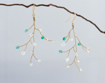 632_Bridal earrings, Twig jewelry, Vine earrings, Handmade earrings, Gold earrings, Crystal earrings, Mint earrings, Jewels,Jewelry.
