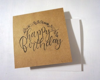 Happy Birthday w/ Wreath // Handwritten Card