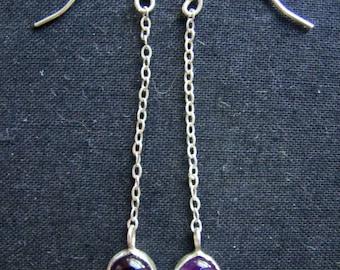Purple Amethyst and Sterling Silver Dangle Drop Earrings