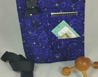Massage therapy single 8oz bottle 2 pocket LEFT hip holster, Purple Galaxy, black belt