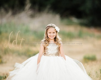 The Juliet Dress - Gold Sequin Bodice and Ivory Tulle - Flower Girl Dress