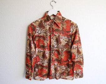 VINTAGE Blouse 1970s Shirt Tree Print Longsleeve Womens Extra Small