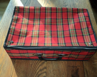 MAD FOR PLAID,  Red Plaid suitcase which has  Never Been Used and in Mint Condition, Made in Taiwan, Republic of China
