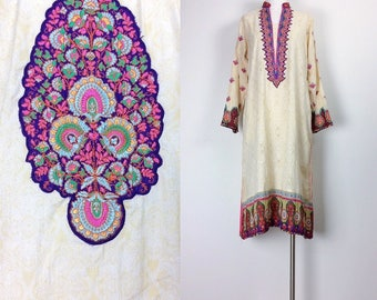 vintage Indian dress Indian cotton Gauze dress embroidered dress yellow pink women's size S/M