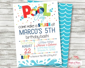 Pool Party Birthday Invitation - Pool Party Invitation - Pool Party Birthday Supplies - Printable - Digital File - I EDIT!  YOU PRINT!