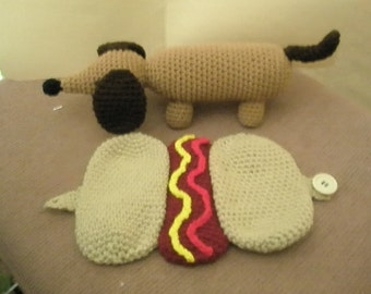 Crochet Dachshund in a Hot Dog Bun Pattern  This is a PDF pattern only-instant download