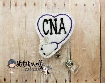 CNA Nurse Feltie Interchangeable Badge Reel, ID Badge Reel Holder