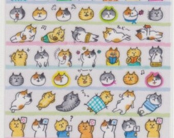 Cat Stickers - Japanese Stickers - Planner Stickers - Mind Wave Stickers - Reference T5780-81A6543-44
