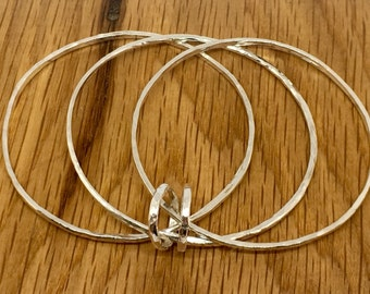 Sterling Silver Triple Ring Bangle, Size 8, Three ring bangles, triple bangles, silver three ring bangle, silver bangles, bangles, handmade