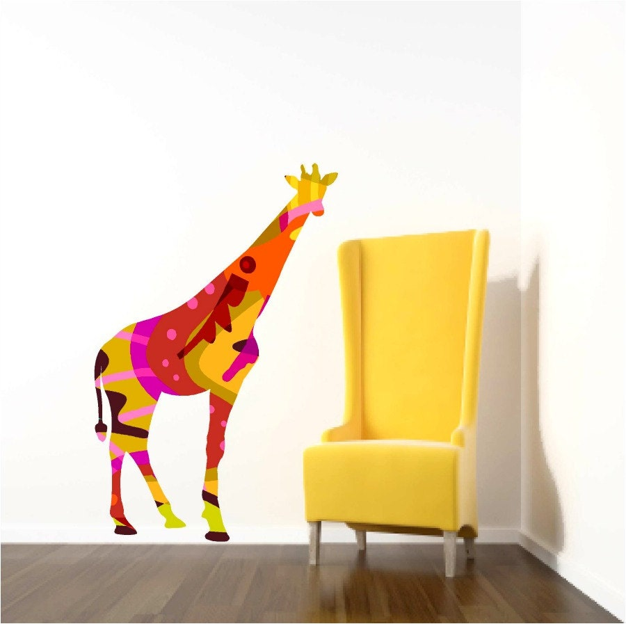 Giraffe Wall Decal Kids Wall Decals Giraffe Wall Decor Zoo