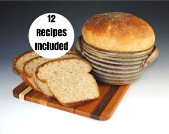 Bread Baker Bowl - Bread Crock - Ceramic Bread Pan - 12 Recipes Included - Featured in Midwest Living Magazine