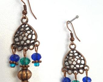 Antique Copper Chandelier Style Earrings
