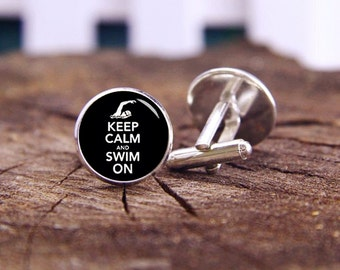 Keep calm and swim on cufflinks, Swim cufflinks, custom keep calm, Swimming, custom wedding cufflinks, groom cufflinks, tie bars, or set