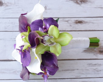 Wedding Purple Calla Lilies and Green Cymbidium Natural Touch Silk Orchids Flower Small Bouquet