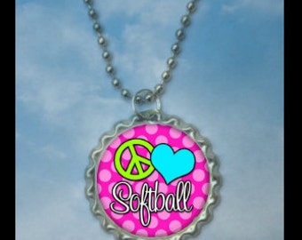 Set of 4 Peace, Love Softball Bottlecap Necklaces,GLITTER or Plain, softball gifts, softball team, softball team gifts, softball necklaces