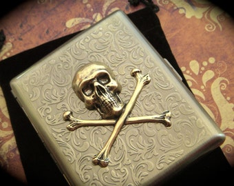 Big Skull Cigarette Case Skull & Crossbones Vintage Inspired Antiqued Rustic Brass Gothic Victorian Steampunk Style Skull Case