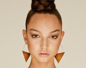 Boho earrings,Brass Earrings, triangle earrings, african hoop, tribal jewelry, tribal earrings, gypsy earrings, boho hoops