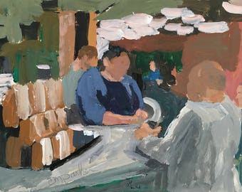 Figurative painting on paper 6x8 inches, impressionist, wall candy, acrylic painting, modern impressionist, coffee shop painting
