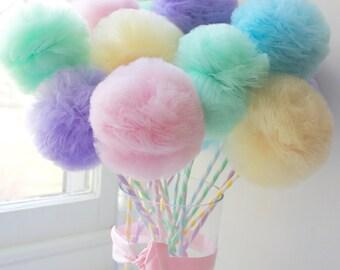 Fairy Princess PREMIUM Tulle Pom Pom Wands, Party Favors Centerpiece, Decorations,  Choose your quantity: 10, 12, 15 or 18 Pc Set