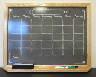 """Large 24""""x36"""" Black """"Chalkboard"""" Calendar Dry Erase Board - Framed Monthly Whiteboard Organizer - Reusable Family Schedule Command Center"""