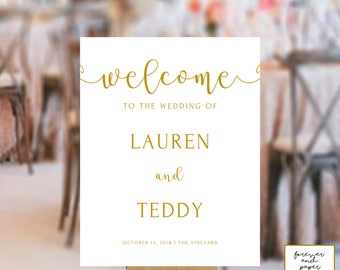 Gold Wedding Decor, Wedding Decorations Gold, Elegant Wedding Signs, Wedding Reception Signs, Wedding Ceremony Sign, Welcome Wedding Sign