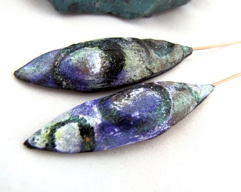 Raised Puffed Pods Polymer Clay Purple, Pastel Green with Shimmery Green Mica Shift and Black Textured Copper Headpins Numi- Poly Pair (2)