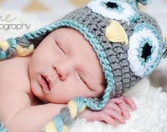 The Blaine Owl Hat-  Boy owl hat-  Kid hat- Toddler hat- Owl hat