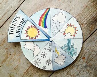 Today's Weather Wheel Digital Download, Kids Printable, Educational Game, Montessori Waldorf Homeschool Classroom, Classroom Decor