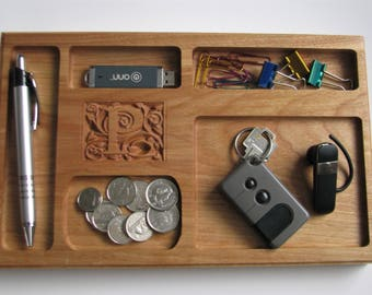 Personalized Desk Tray Cherry Desk Tray with Carved Initial Custom Small Desk Tray Organizer