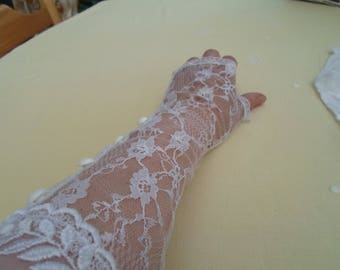 Fingerless elbow length white gloves