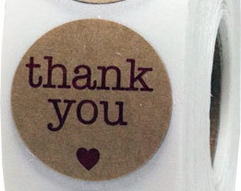 "500 Round Thank You Stickers, 1"" Inch Circle Stickers, Thank You Adhesive Label on Natural Kraft Paper with Red Eco Friendly Heart -"