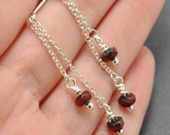 Sterling Silver Garnet Earrings, Silver Chain Earrings, Red Earrings, Czech glass earrings