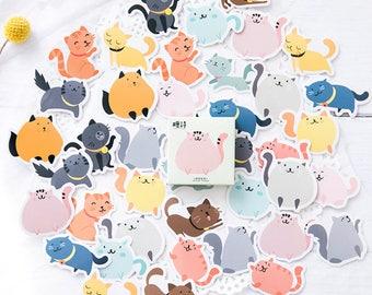 45pcs, cat stickers, animal Stickers, sticker flakes, fat cat stickers, Planner Sticker, kawaii stationary, Scrapbook Sticker, journal, cute