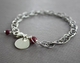 Personalized sterling silver medium size bracelet with ruby stones and tag charm, Initial name bracelet, Ruby birthstone bracelet - BR014