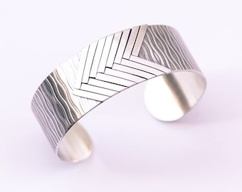 """Geometric silver cuff, playful design of light and dark lines with an overall multidimensional contrast rich look - """"Allegro Cuff"""""""