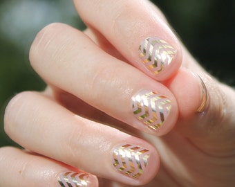 Gold Chevron Nail Wraps