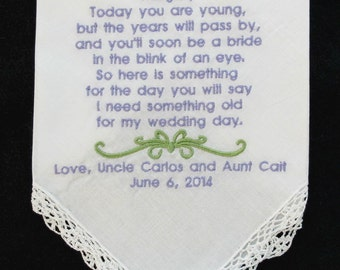 Wedding Handkerchief embroidered for your flower girl.