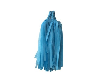 Sky Blue Tissue Tassels - Pack of 4 - DIY Kit Assembly Required - Paper Party Decor Decoration Supplies