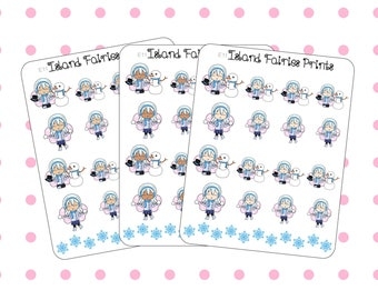 Crystal Winter Fairy Snowman Building Snowball Fight Planner Stickers E11