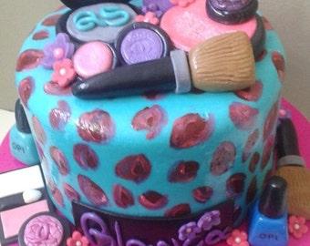 Edible Fondant Make up Cake toppers Set of 12, Fondant Cosmetics and Nail Polish
