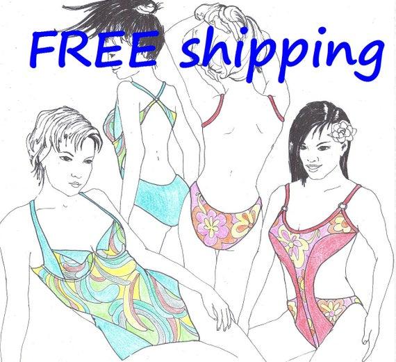 Bademode Muster BAD3 für 2 Sonnen Badeanzüge freies
