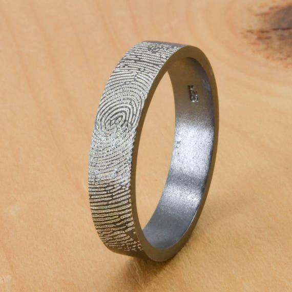 fingerprint ring engraved ring engraved jewelry custom. Black Bedroom Furniture Sets. Home Design Ideas