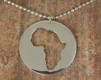 Round Africa Necklace - Adoption africa pendant - Collar redonda africa